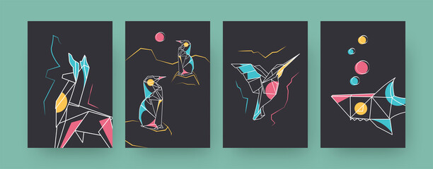 Obraz Set of contemporary art posters with llama and shark. Paper hummingbird, penguins vector illustrations in pastel colors. Origami, hobby concept for designs, social media, postcards, invitation cards - fototapety do salonu