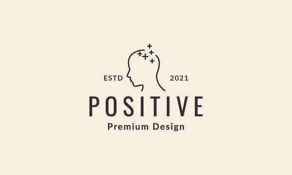 lines head positive thinking logo vector icon illustration design