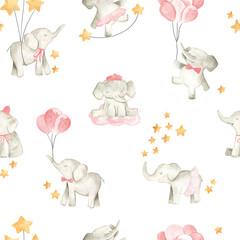 Baby elephant watercolor illustration nursery seamless  pattern for girls