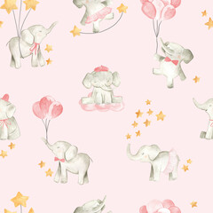 Modèle sans couture de pépinière illustration aquarelle bébé éléphant pour les filles