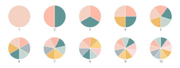 Fototapeta Pie chart color icons. Segment slice sign. Circle section graph. 1,2,3,4,5 segment infographic. Wheel round diagram part symbol. Three phase, six circular cycle. Geometric element. Vector illustration obraz