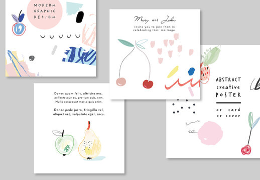 Creative Cards with Fruits and Berries