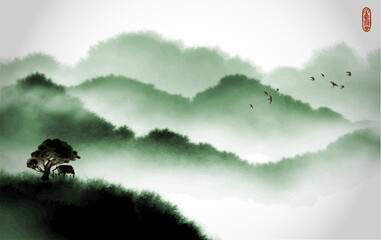 Landscape with little house on the hill and misty forest mountains. Traditional oriental ink painting sumi-e, u-sin, go-hua.
