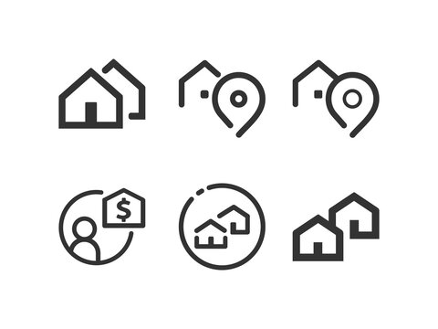 Real Estate icon set. Realtor. Vector line icon collection