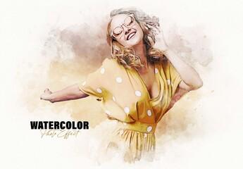 Fototapeta Artistic Watercolor Photo Effect Mockup obraz