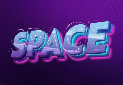 Space 3D Text Effect Mockup