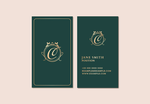 Luxury Business Card Layout in Gold and Green Tone
