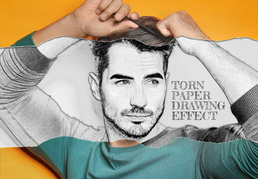 Torn Rolled Paper with Pencil Drawing Photo Effect Mockup