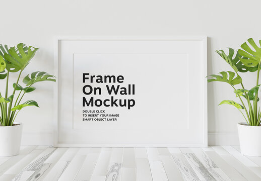 White Frame Mockup Leaning on Wall