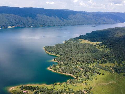 Amazing Aerial view of Dospat Reservoir, Bulgaria