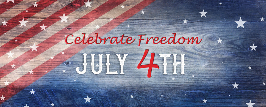 July 4th vintage background, red and white stripes and stars on old antique blue wood or board background with distressed grunge texture, fourth of July celebrate freedom concept