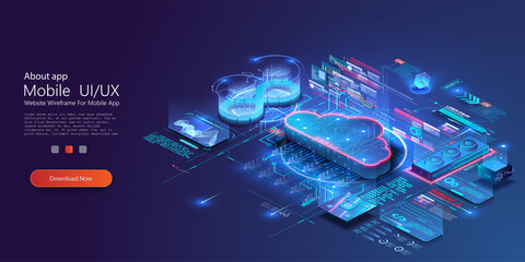 Obraz Isometric modern cloud technology and networking concept. Digital service, app with data transfering. Computing technology. Devices connected to digital storage in data center via internet. Web cloud - fototapety do salonu