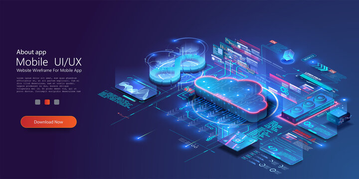 Isometric modern cloud technology and networking concept. Digital service, app with data transfering. Computing technology. Devices connected to digital storage in data center via internet. Web cloud