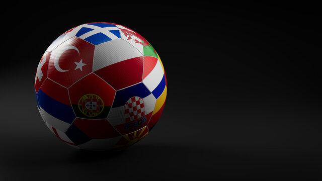 Euro Flag Football Isolated on Black Background. UEFA Euro 2020 themed Match Ball.