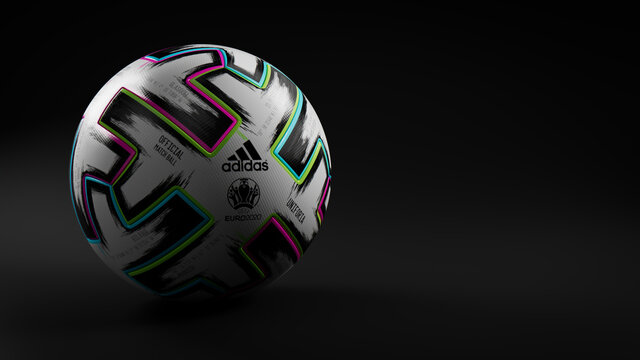 Adidas UNIFORIA Football Isolated on Black Background. Official Match Ball of UEFA Euro 2020.