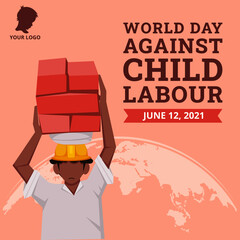 Obraz World day against child labour background with children working in a construction field. Flat style vector illustration concept of anti child exploitation campaign for poster and banner - fototapety do salonu