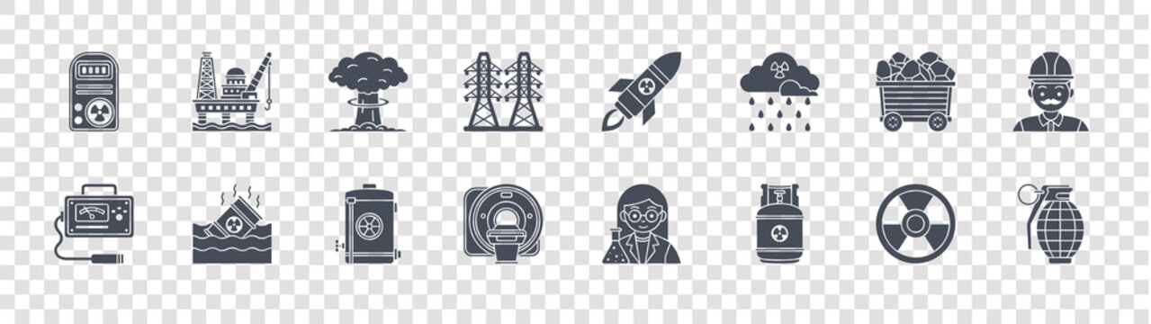 nuclear energy glyph icons on transparent background. quality vector set such as grenade, gas fuel, ct scan, geiger counter, uranium, nuclear bomb, missile, oil platform