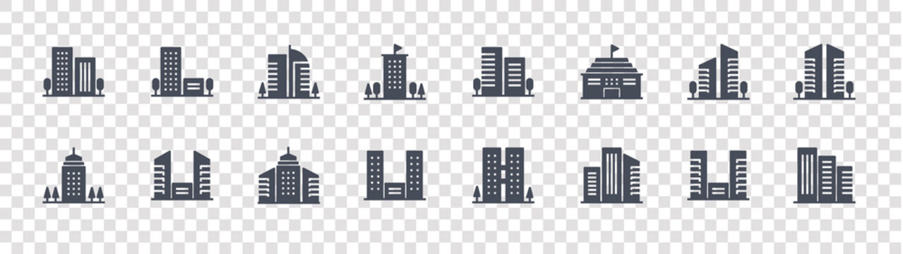 building and city glyph icons on transparent background. quality vector set such as buildings, city building, hotel, building, city office, office