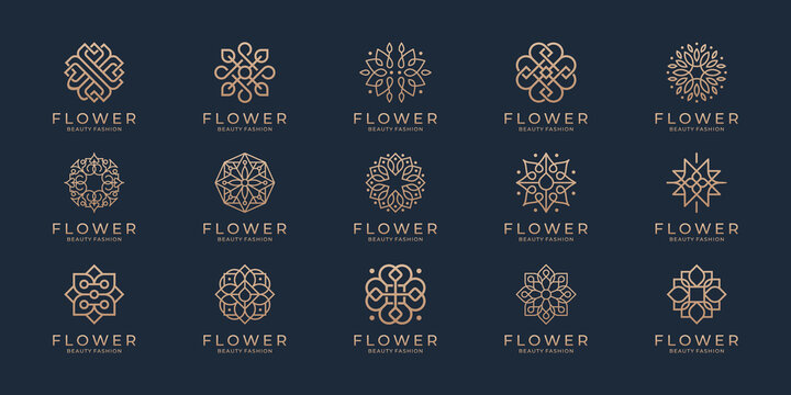 Floral ornament logo and icon set. Abstract beauty flower logo design collection.