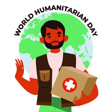 World humanitarian day illustration, August 19