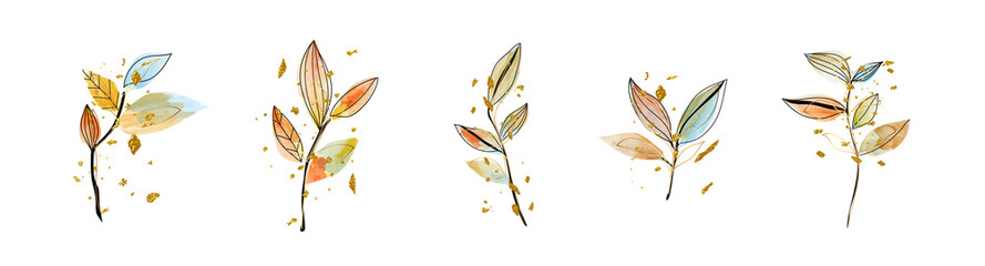 Luxury wedding bouquets watercolor and gold splatters vector set. Floral foliage, tropical leaves, artificial plants , Botanical art design set for wedding logo, wall art, canvas prints, invite card.