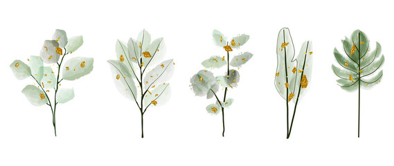 Obraz Luxury wedding bouquets watercolor and gold splatters vector set. Floral foliage, tropical leaves, artificial plants , Botanical art design set for wedding logo, wall art, canvas prints, invite card. - fototapety do salonu