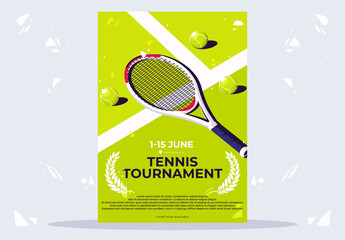 Obraz vector illustration of a minimalist poster for a tennis tournament, a tennis racket with light green balls lying on a tennis court - fototapety do salonu
