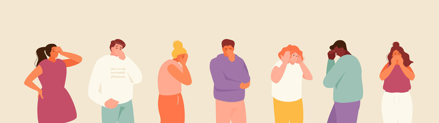 People expressing stress and anxiety. Depression and despair. Fear, panic, bad news, grief. Vector illustration