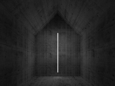 Abstract empty dark concrete interior, 3d render