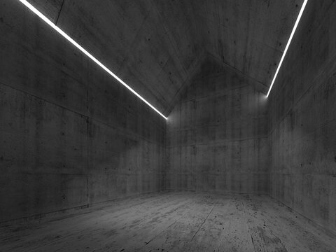 Abstract empty dark concrete interior with LED lines