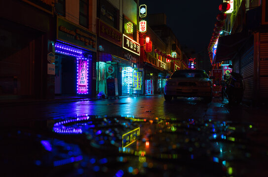 Street view with colorful advertising illumination