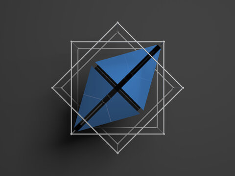 Abstract polygonal blue object in wireframe, 3d sign