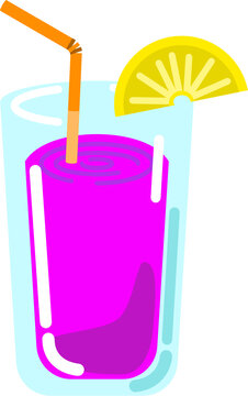 Cocktail sweet fruit drink with straw and lemon part isolated vector graphic