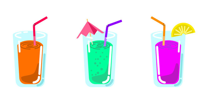 Set of different vector cocktail drinks with straw and decoration isolated sweet or fruit beverage