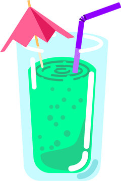 Cocktail sweet fruit drink with straw and sunshade and bubbles isolated vector graphic