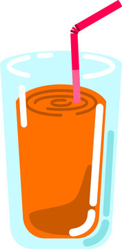 Cocktail sweet fruit drink with straw isolated vector graphic