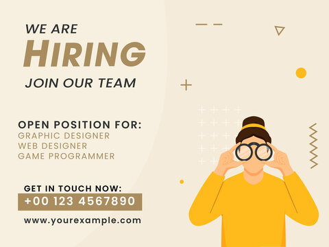 We Are Hiring Join Our Team Poster Design With Woman Searching Through Binocular On Beige Background.