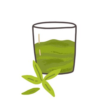 Glass of cold green tea matcha drink. Cold refreshing Japanese beverage. Traditional natural Asian refreshment. Oriental blended smoothie. Flat vector illustration isolated on white background