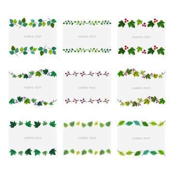 葉っぱの装飾フレーム イラスト素材セット / vector eps