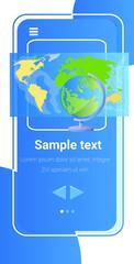 Fototapeta world map on smartphone screen global network internet connection globalization concept vertical obraz