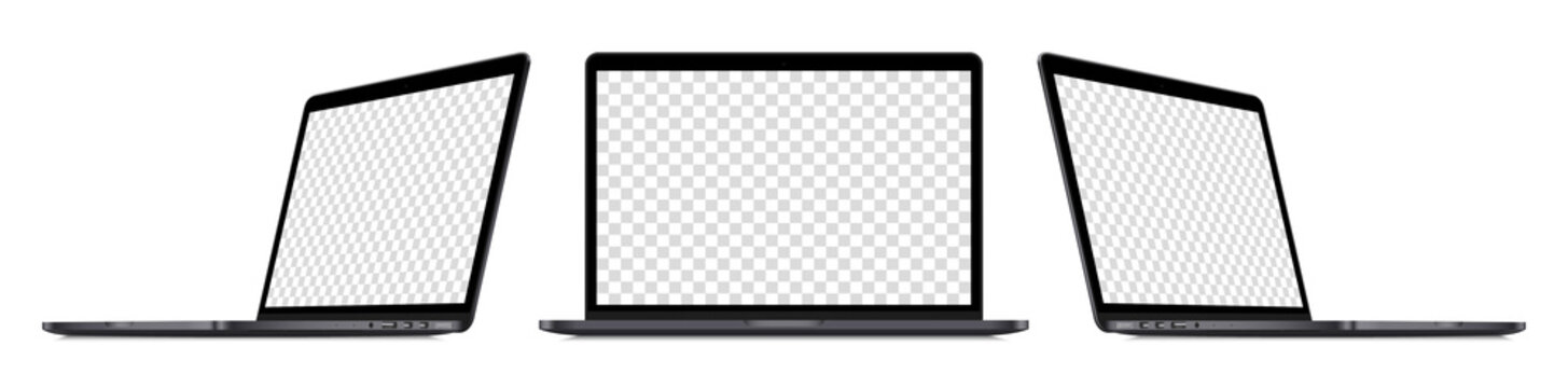 Realistic laptop device perspective mockup set : front view, sideways view. Isolated dark grey computer with empty screens on white background. Editable blank screen mock-up. Vector illustration.