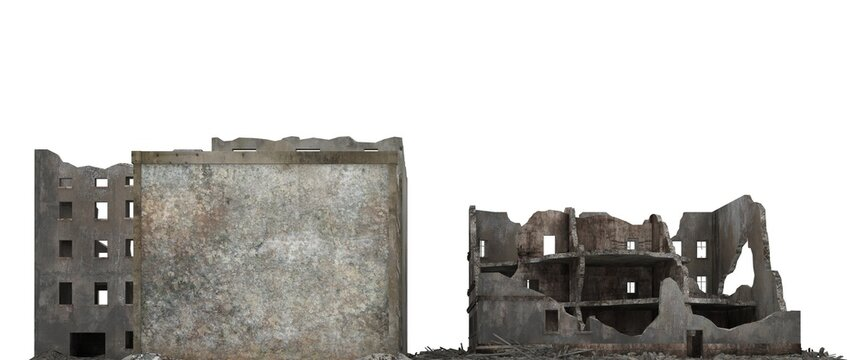 Ruined city building isolated on white 3d illustration