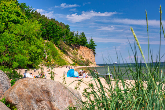 Summer landscape of the Baltic Sea with cliffs in Gdynia Orłowo, Poland.