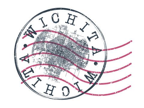 Wichita, KS, USA Stamp Map Postal. Silhouette Seal Roads and Streets. Passport Round Design. Vector Icon. Design Retro Travel National Symbol.