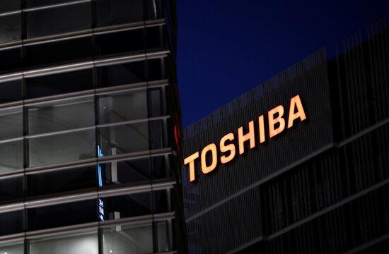 The logo of Toshiba Corp. is seen at the company's facility in Kawasaki,