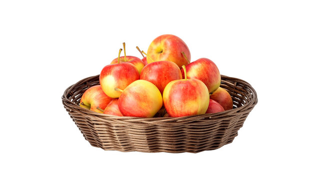 Red apple in a basket on a white background.
