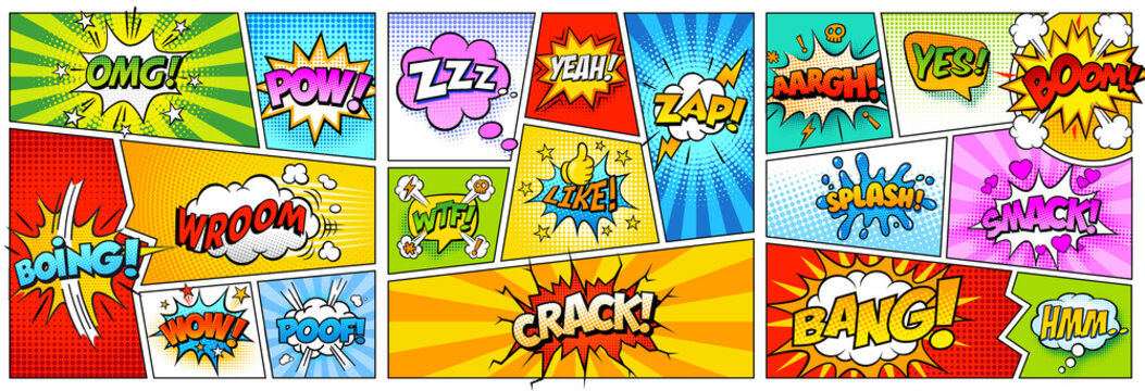 Colorful comic book background.Blank white speech bubbles of different shapes. Rays, radial, halftone, dotted effects. Vector illustration in pop art style