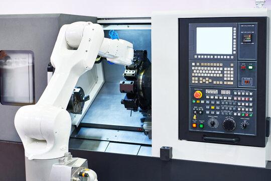 Robotic arm and cnc lathe machine