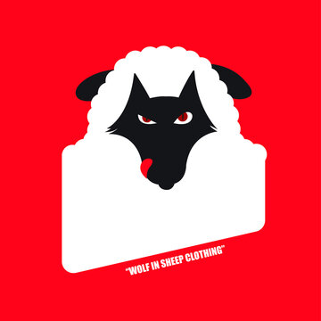 wolf in sheep's clothing on red background. Place for an inscription - for t-shirts, posters, cards.