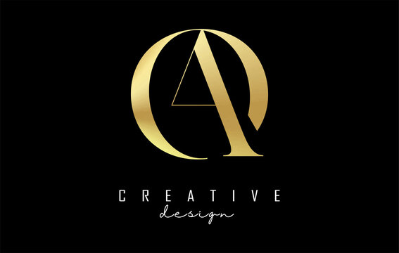 Golden AO a o letter design logo logotype concept with serif font and elegant style. Vector illustration icon with letters A and O.